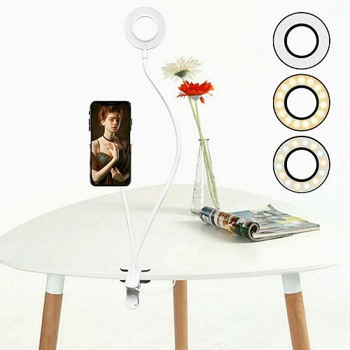 Long Arm Selfie Universal Holder 24 LEDs Ring Flash Fill in Light USB Clip Camera Cell Phone Stand Live stream 5V White Black