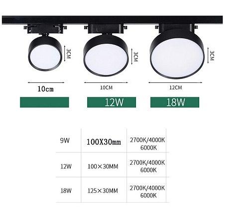 9w 12W 18W Led  COB Track light aluminum Ceiling Rail Track lighting Spot Rail Spotlights Replace Halogen Lamps AC220V