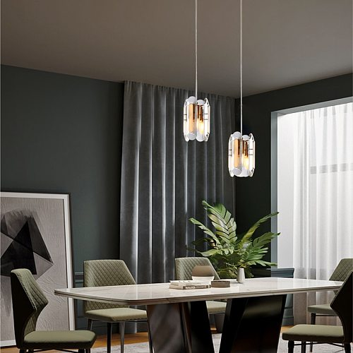 Modern gold pendant light bedroom crystal pendant lamp dining room led kitchen fixture Retro holder lamp bathroom crystal lights