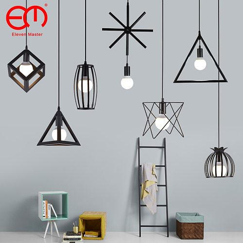 Nordic Pendant Lights Industrial Vintage Loft Lamp Iron Art Cage Black Hanging Lamp Kitchen living Room for E27 Led Bulb ZDD0011