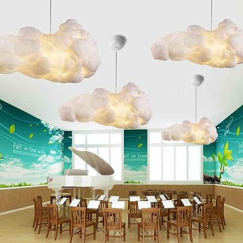 Creative Fashion Pendant Lamp Cloud Chandelier Simple Fabric Lamps Personalized Dining Room Lamp Cotton Decoration Cloud Led E27
