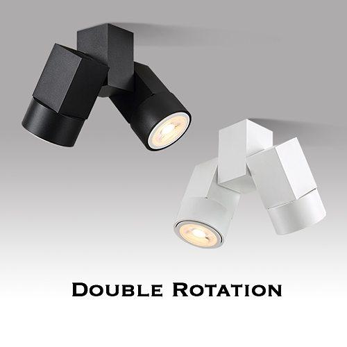 Indoor led downlight led gu10 180 adjustable double surface mount spotlight white/ black ceiling light