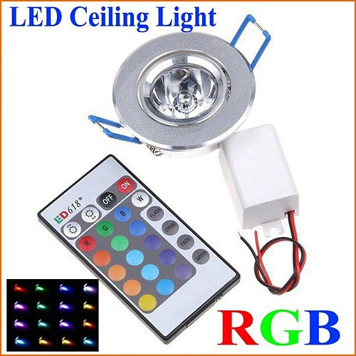 1pcs LED Light Bulbs Lamp 3W RGB 16 Colors Spot Light AC85-265V + IR Remote Control RGB LED Ceiling Downlight