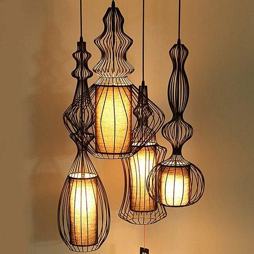 Vintage Industrial Lighting Pendant Lights Suspension Luminaire American Wrought Iron Retro Dining Room Kitchen Pendant Lamp