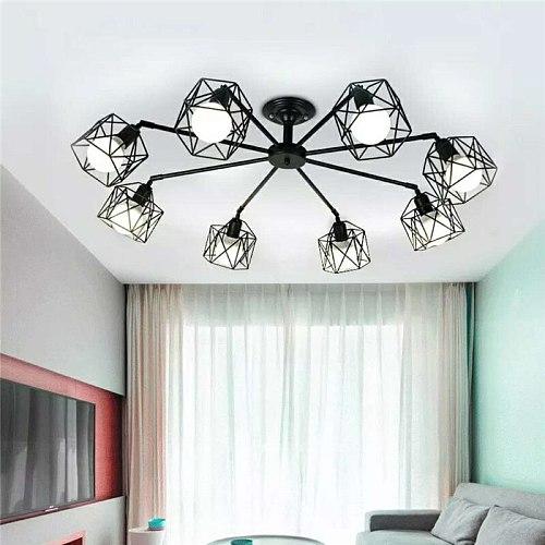 Modern Black Chandelier Lighting American Iron Cage Ceiling Lamp Light Fixtures Kitchen luminiare Bedroom Living Room Home decor