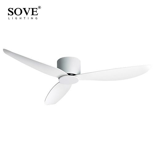 SOVE Modern Black White Low Floor DC Motor 30W Ceiling Fans With Remote Control Simple Ceiling Fan Without Light Home Fan 220V