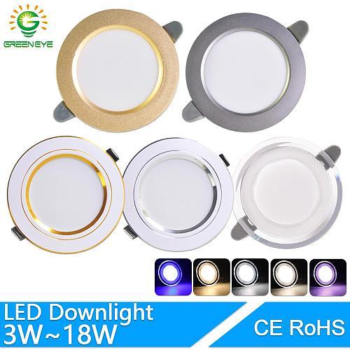 LED Downlight 3W 5W 9W 12W 15W 18W AC220V 240V downlight gold Silver White Ultra Thin Aluminum Round Recessed LED Spot Lighting