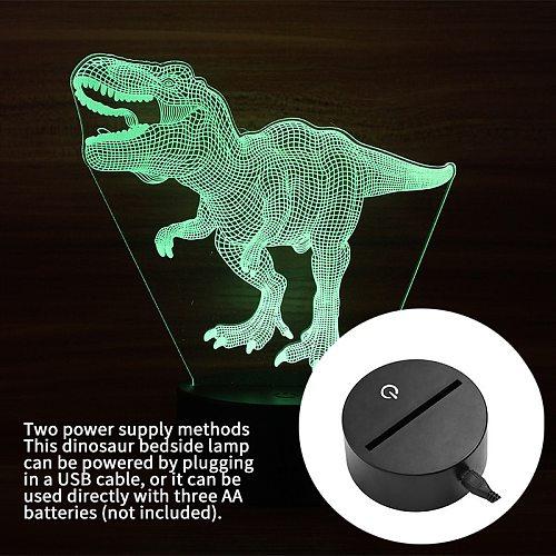 dinosaur bedside lamp 3D hologram illusion night light  home bedroom bedside 3D touch dinosaur-shaped  interesting