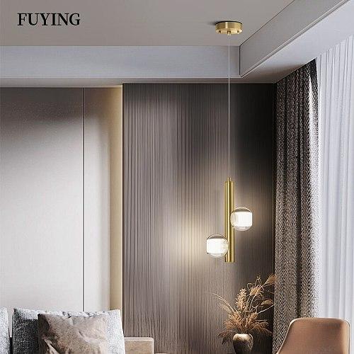 New 2021 Modern Minimalist LED Pendant Light Copper Pendant Light Dinning Room Restaurant Bar Hanging Lamp Home Decor Lighting