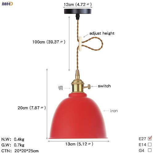 IWHD Red Color Iron Wrount LED Pendant Lighting Cafe Bedroom Dinning Living Room Copper Nordic Lamp Light Luminaire Lighting