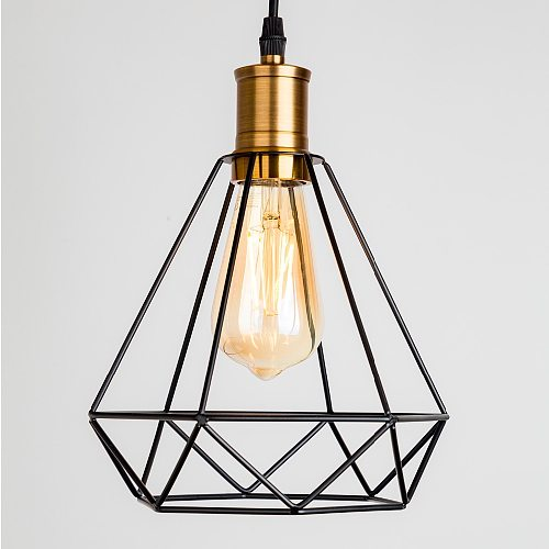 ZhaoKe Modern  Industrial Vintage Cage Pendant Light Iron Art Diamond Pyramid Wrought home Ceiling Lamp Suitable for E27 bulbs