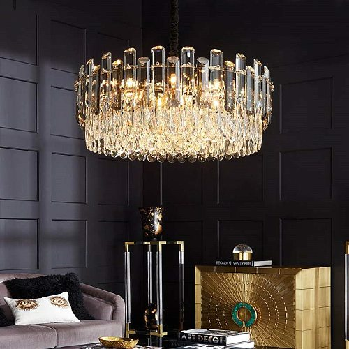 Modern Luxury Living Room Round K9 Led Pendant Lamp Led Hanging Lamp Dinng Room Line Lustre Gray & Clear Crystal Suspend Lamp