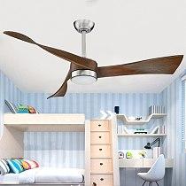 Nordic Wooden Vintage Ceiling Fans With Lights Remote Control Ventilador De  Teto Bedroom  Living room Brown  LED Light for home