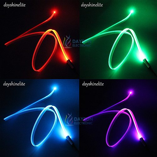 New Skirt Optic Cable 3.0mm / 2.0mm Side Glow Fiber Cable for Car Atmosphere Light Superbright Glowing Cable with Mounting Edge