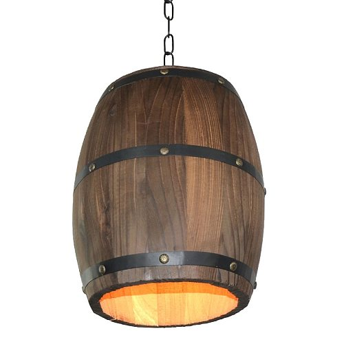 American personality creative cafe bar vintage restaurant wooden barrel wooden wine pendant lights e27 led lamp