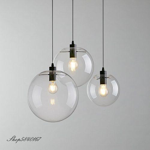 Post Modern Pendant Lamps Clear Glass Kitchen Hanging Lamps Dining Room Light Fixtures Creative Art Deco Loft Pendant Lights LED
