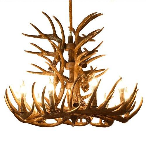 Deer lamp Vintage industrial light Retro Antler chandelier for Living Room church lustres luminaria Resin Deer Horn Hanging lamp
