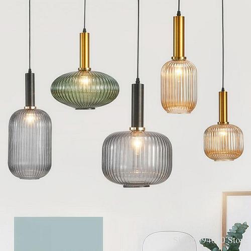 Modern Restaurant Colored Glass Chandelier Bar Bedroom Creative Kitchen Hanging Lamps Dining Room Lights Suspension Luminaire