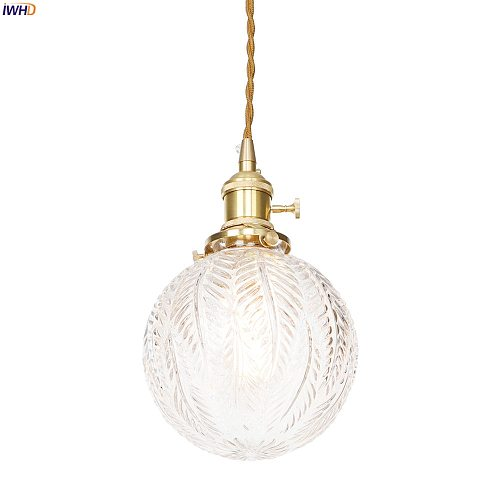 IWHD Nordic Modern Style Copper Pendant Lamp Hanglamp Dinning Living Room Hanging Lights Glass Ball LED Pendant Light Fixtures