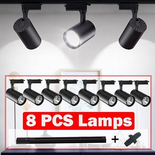 COB Led Track Light Spots Led Track Lamp Rail Lighting Fixture 12/20/30/40W Modern Wall Lamp Spotlight Home Clothing Shop 220V
