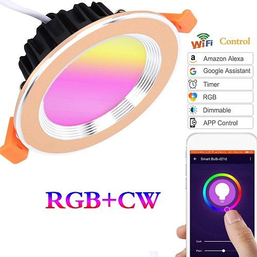 WiFi Smart Light Led Downlight Ceiling Lamp Colorful RGB  Wake-Up Compatible With Alexa And Google Assistant