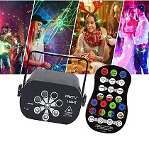 Disco Light UV RGB LED 3 in 1 Stage Beam Lights Sound Activated DJ Party Light Laser Projector Lamp With Remote Control
