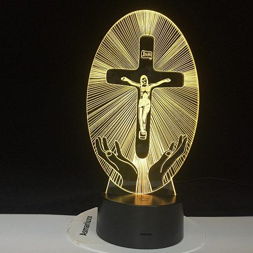Christianity Hologram LED Night Light Jesus Station of Religion The Cross Visualization Crucifix Bible Christians 3D LED Lamp