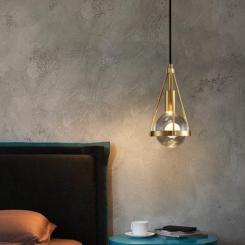 Bedroom bedside Pendant lights Modern luxury Copper Crystal Kitchen Restaurant Island Lighting Dining room Suspension luminaire