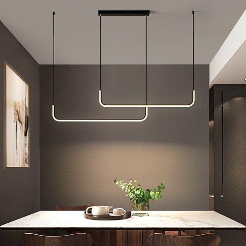 Modern LED Pendant Lamp For Living Dining Room Kitchen Table Minimalist Design Indoor Lighting Fixtures Gold Hanging Chandelier