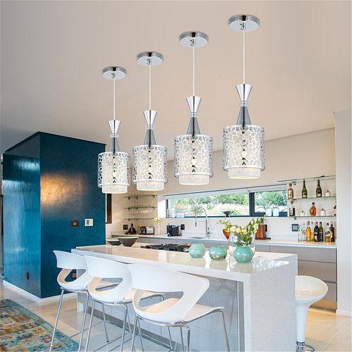 Modern Crystal Iron  Pendant Lamp Dining Room Chandelier Decor E27 Base Hanging Ceiling Lamp