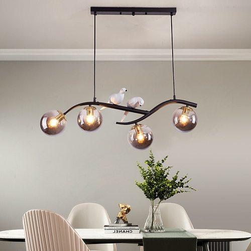 Nordic Brief Glass Ball Pendant Light for Loft Dining Room Lights Luminaire Lampara Postmodern Bedroom Restaurant Branch Lamp