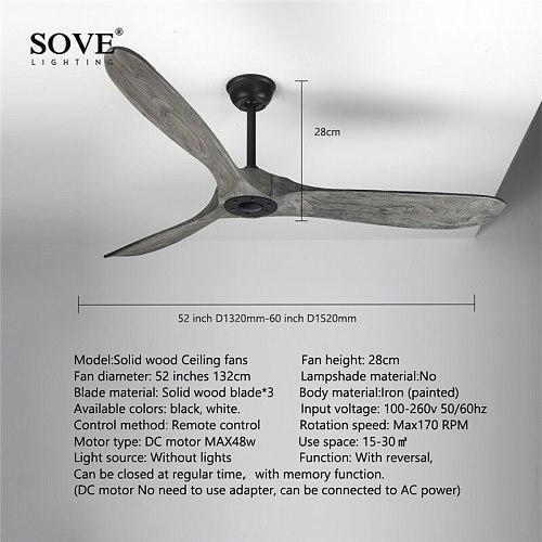 52 Inch Grey Vintage Ceiling Fan Wood Without Light Nordic Wooden Ceiling Fans With Remote Control DC Fan Ventilador De Techo