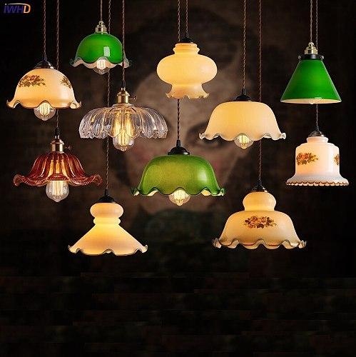 IWHD Old Shanghai Vintage Pendant Lamp Green Glass Artistic Bar Restaurant Cafe Retro LED Pendant Lights Fixtures Luminaria