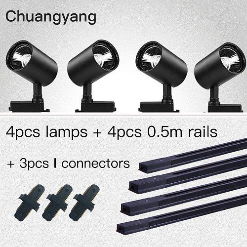 Whole Set Led Track light Lamps 12/20/30/40W Track Lighting System Led Track Rail Spot Light for Clothing Store 1M 0.5M Rail