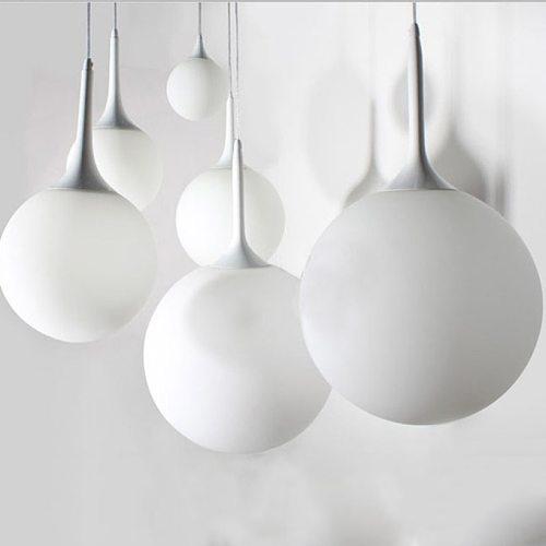 Modern Globe Glass Pendant Lights for Kitchen White Ball  Hanging Lamp Home Decor Indoor Lighting Hanging Fixture Led Lighting