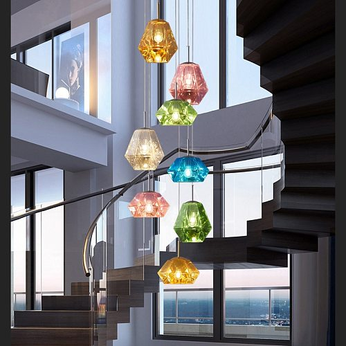 Nordic Diamond Lava LED Pendant Lights Modern Acrylic Hanging Lamps Lighting for Living Room Indoor Lights Cafe Home Fixtures