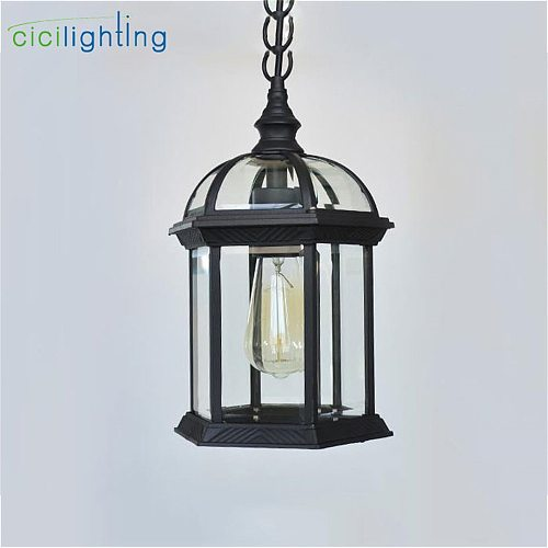 Antique Aluminum Alloy + Glass Shade Outdoor Pendant Lights,Hanging Lantern Light Fixture for Porch with Clear Glass Shade