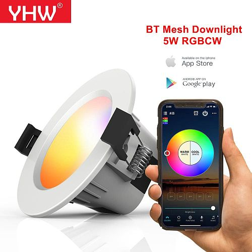 YHW 5W Bluetooth Mesh Downlight RGBCW Smart APP Spot LED Light Color Changing Warm Cool light Work with Alexa Google Home