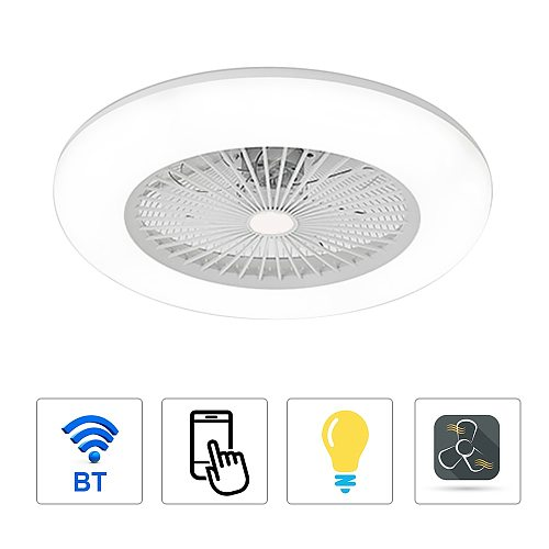 Ceiling Fan with Lighting 180V-265V LED Light with APP Mobile Phone Control Support Bluetooth Connection for Bedroom Living Room