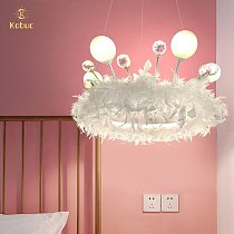 Kobuc Romantic Feather Pendant Light with Crystal Decoration Nordic INS Style Vedroom Princess Girls' Room Hanging Light Fixture
