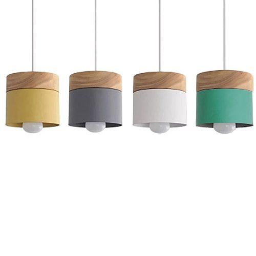 Nordic simplicity LED E27 Pendant light Modern macaron Hanging Lights Home improvement Iron and wood decoration Pendant lamp