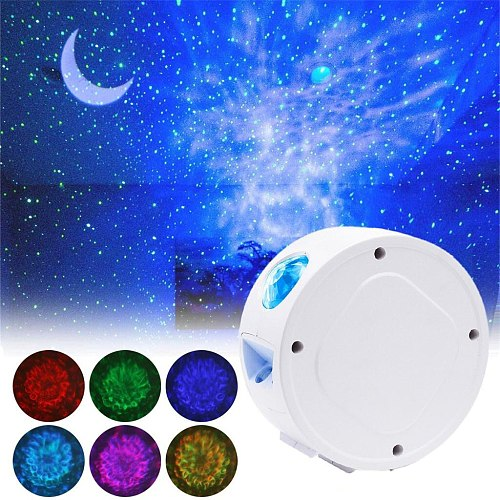 Starry Sky Projector Star Night Light Projection 7 Colors Ocean Waving Lights 360 Degree Rotation Night Lamp for Kids #Y5