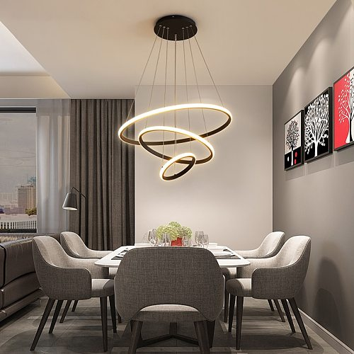 Modern LED Chandeliers For Living Dining Room Bedroom 3/4/5 Round Ring Indoor Hanging Light Pendant lamp Circle Lighting Fixture