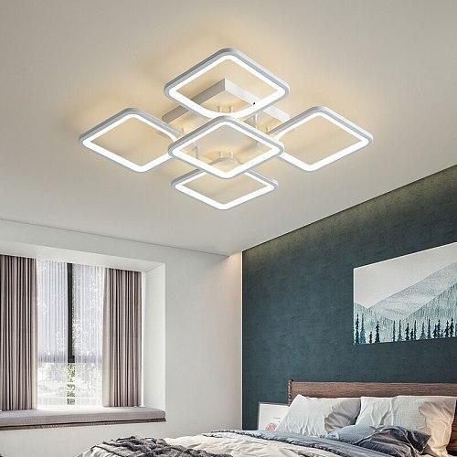 Modern Led Chandelier For Living Room Bedroom Kitchen Indoor Lamp White Square Ceiling Chandelier Home Decor Lighting Fixtures