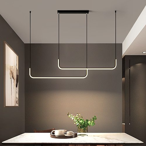 Modern Minimalism LED Chandelier with Remote Control Nordic Living Room Table Dining Kitchen Fixture Pendant Home Decor Lighting