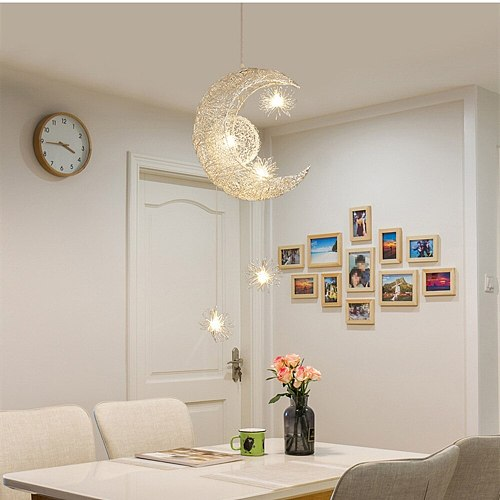 Hanging Lamp Moon Pendant Light Aluminum No Rust Bright Lighting Fixture Creative Lamp For  Aparment Living Room Childern Room