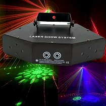 Professional RGB Laser Light 6 Eyes Laster Lighting DMX Stage Light for Disco Dance Halls Bars KTV Nightclub Wedding Family