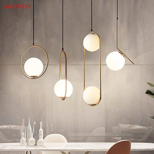 LED Glass Ball Pendant Lights Metal Hoop Hang Lamp for Bedroom Cafe Restaurant Bar Indoor Lighting Decoration Light Fixture