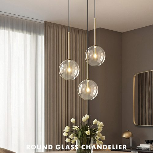 1 Light Clear Glass Globe Dimmable G4 Led Pendant Lights Dining Room Led Suspend Lamp Gold/Chrome Led Hanging Lamp Led DropLight