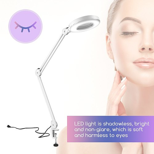 5X Illuminated Magnifier LED Magnifying Floor Stand Lamp Magnifier Lighted Desk Magnifier Light Lamp With Clamp Beauty Lamp